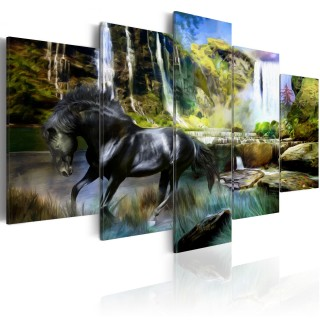 Πίνακας - Black horse on the background of paradise waterfall