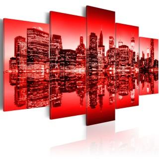 Πίνακας - Red glow over New York - 5 pieces