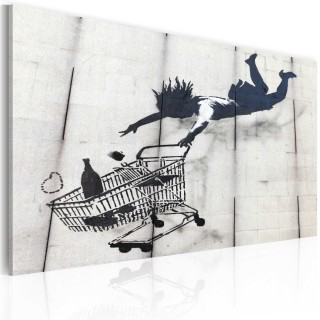 Πίνακας - Falling woman with supermarket trolley (Banksy)