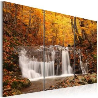 Πίνακας - A waterfall in the middle of fall trees