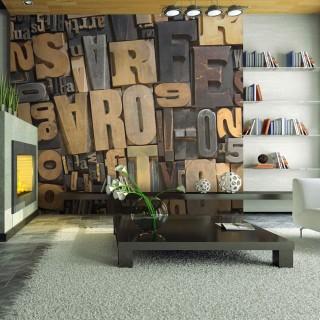 Φωτοταπετσαρία - Wooden letters