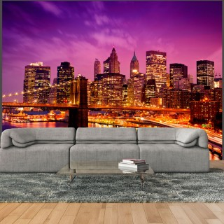 Φωτοταπετσαρία - Manhattan and Brooklyn Bridge by night