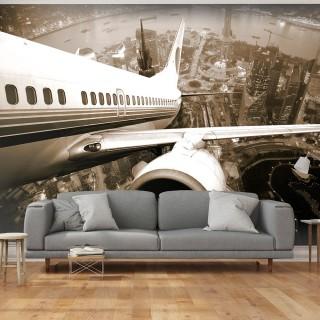 Φωτοταπετσαρία - Airplane taking off from the city