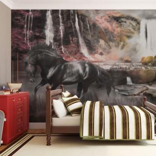 Φωτοταπετσαρία - Black horse by a waterfall