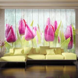 Φωτοταπετσαρία - Tulips on white wood