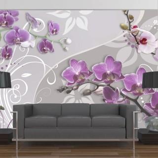 Φωτοταπετσαρία - Flight of purple orchids
