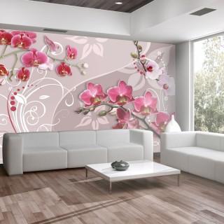 Φωτοταπετσαρία - Flight of pink orchids