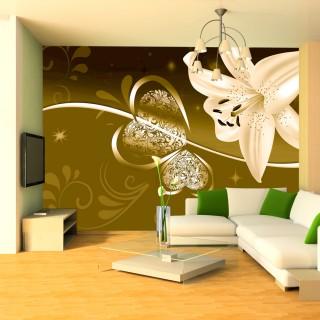 Φωτοταπετσαρία - Lily in shades of green