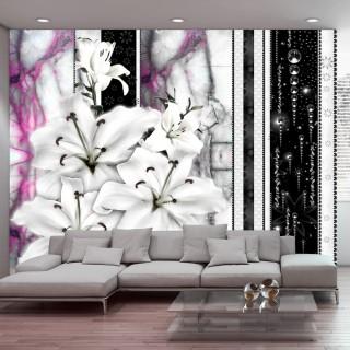 Φωτοταπετσαρία - Crying lilies on purple marble