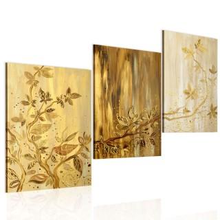 Χειροποίητα ζωγραφισμένος πίνακας - Golden leaves