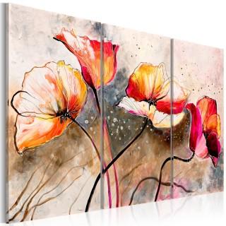 Χειροποίητα ζωγραφισμένος πίνακας - Poppies lashed by the wind