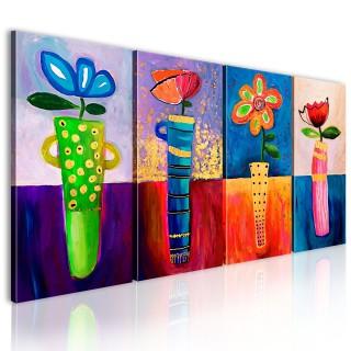 Χειροποίητα ζωγραφισμένος πίνακας - Rainbow flowers
