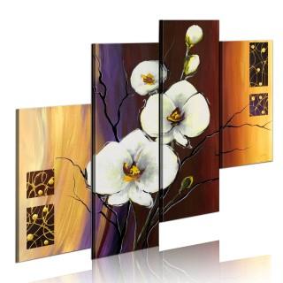 Χειροποίητα ζωγραφισμένος πίνακας - White orchid