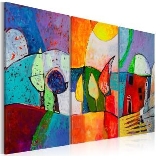Χειροποίητα ζωγραφισμένος πίνακας - Colourful landscape
