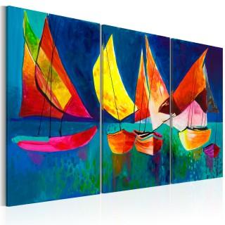 Χειροποίητα ζωγραφισμένος πίνακας - Colourful sailboats