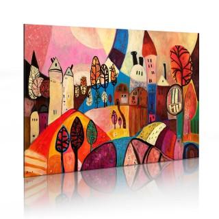 Χειροποίητα ζωγραφισμένος πίνακας - Colourful village
