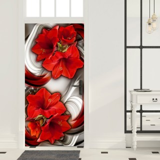 Φωτοταπετσαρία πόρτας - Photo wallpaper - Abstraction and red flowers I