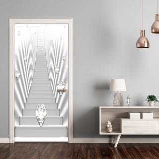 Φωτοταπετσαρία πόρτας - Photo wallpaper - White stairs and jewels I