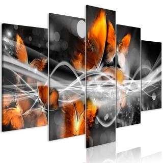 Πίνακας - Swarm of Butterflies (5 Parts) Wide Grey