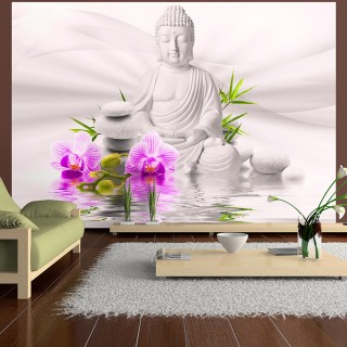 Αυτοκόλλητη φωτοταπετσαρία - Buddha and pink orchids
