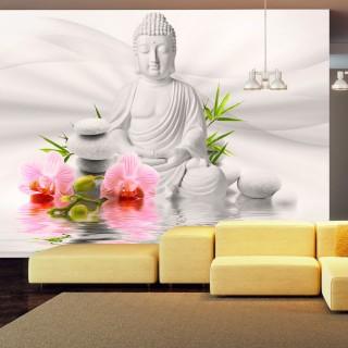 Αυτοκόλλητη φωτοταπετσαρία - Buddha and two orchids