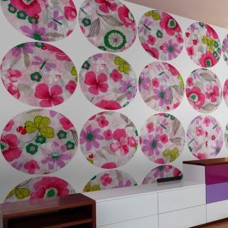 Φωτοταπετσαρία - Pink meadow - circle