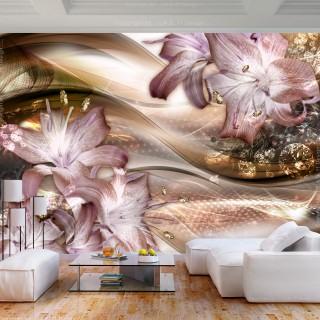 Φωτοταπετσαρία - Lilies on the Wave (Brown)