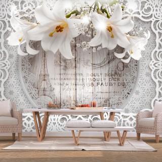 Φωτοταπετσαρία - Lilies and Wooden Background
