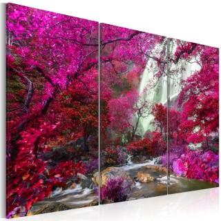 Πίνακας - Beautiful Waterfall: Pink Forest