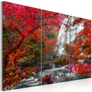 Πίνακας - Beautiful Waterfall: Autumnal Forest