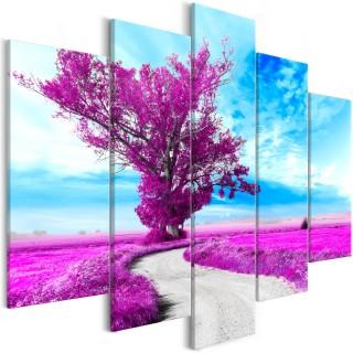 Πίνακας - Tree near the Road (5 Parts) Violet