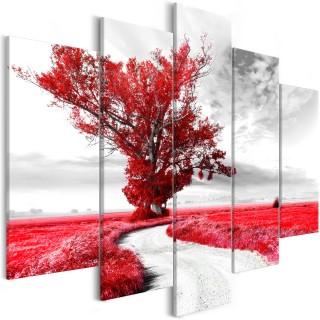 Πίνακας - Tree near the Road (5 Parts) Red