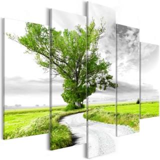 Πίνακας - Tree near the Road (5 Parts) Green