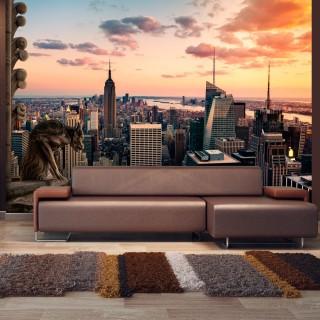 Αυτοκόλλητη φωτοταπετσαρία - New York: The skyscrapers and sunset