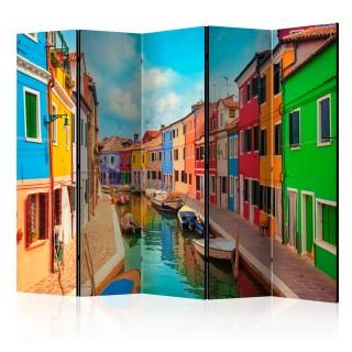 διαχωριστικό με 5 τμήματα -  Colorful Canal in Burano II [Room Dividers]