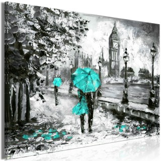 Πίνακας - Walk in London (1 Part) Wide Turquoise