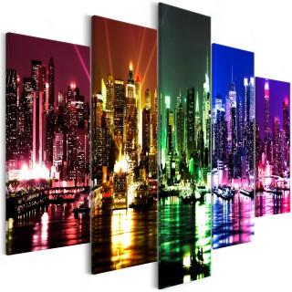 Πίνακας - Rainbow New York (5 Parts) Wide