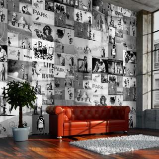 Φωτοταπετσαρία - Banksy - grey collage