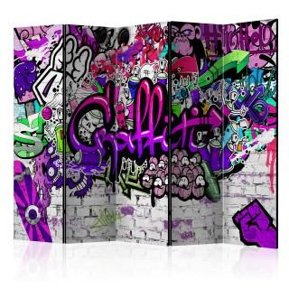 διαχωριστικό με 5 τμήματα -  Purple Graffiti [Room Dividers]