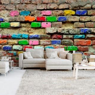 Αυτοκόλλητη φωτοταπετσαρία - Colourful Bricks