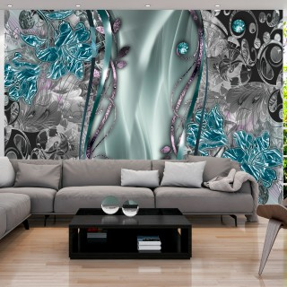 Αυτοκόλλητη φωτοταπετσαρία - Floral Curtain (Turquoise)