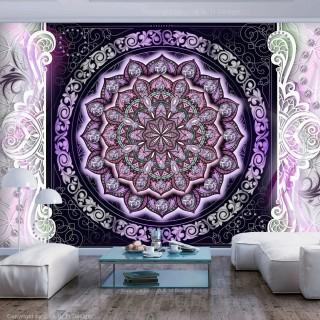 Αυτοκόλλητη φωτοταπετσαρία - Round Stained Glass (Violet)