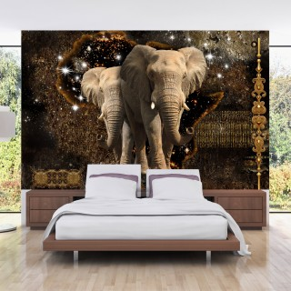 Αυτοκόλλητη φωτοταπετσαρία - Brown Elephants