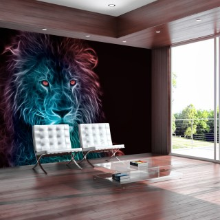 Αυτοκόλλητη φωτοταπετσαρία - Abstract lion - rainbow
