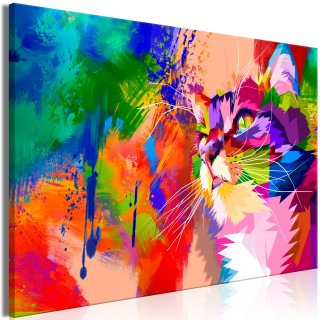 Πίνακας - Colourful Cat (1 Part) Wide