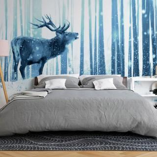Αυτοκόλλητη φωτοταπετσαρία - Deer in the Snow (Blue)