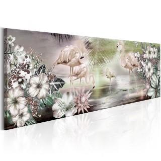 Πίνακας - Flamingoes and Flowers