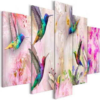 Πίνακας - Colourful Hummingbirds (5 Parts) Wide Pink