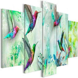 Πίνακας - Colourful Hummingbirds (5 Parts) Wide Green