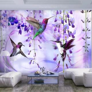 Αυτοκόλλητη φωτοταπετσαρία - Flying Hummingbirds (Violet)